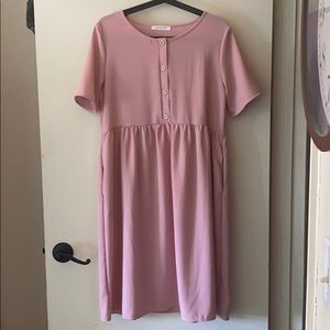 Soft pink 4 button front s/s dress